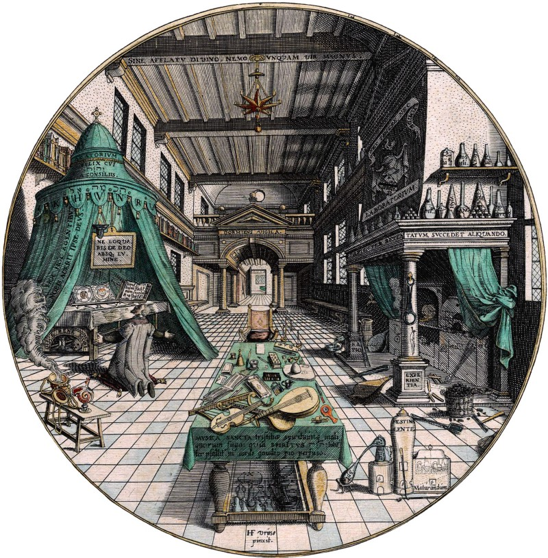 Alchemist's laboratory, engraving pictured in the book Amphitheatrum sapientiae aeternae written by Heinrich Khunrath