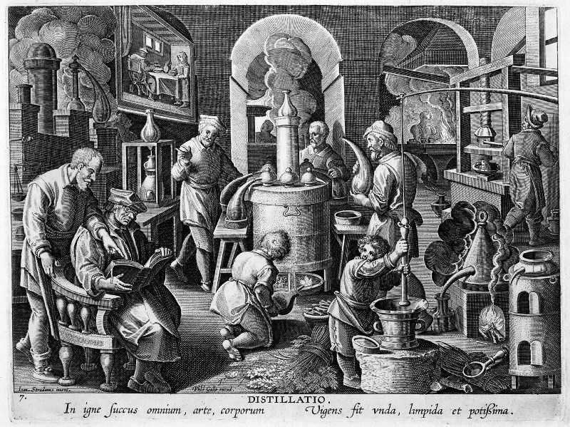 'Distillatio', scene in an alchemist laboratory