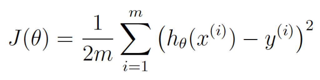 """θ predstavlja trenutne težinske faktore. J(θ) označava """"cenu trenutnih faktora."""""""