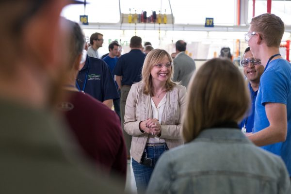 General Motors Chairman and CEO Mary Barra, and GM Executive Vice President Product Development Mark Reuss talk with students and tour the EcoCAR3 Challenge garage Friday, May 19, 2017 at the GM Milford Proving Ground in Milford, Michigan. (Photo by Steve Fecht for General Motors)